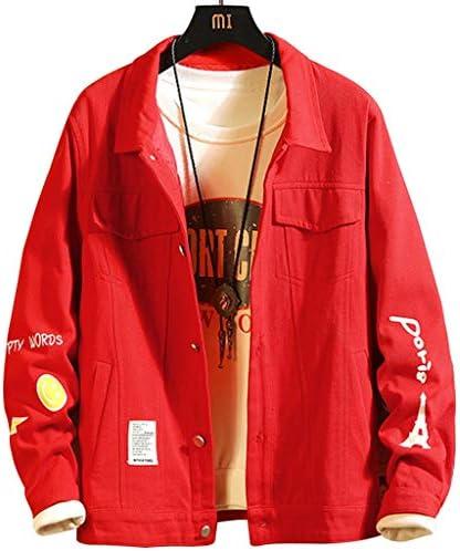 デニムジャケット ムジャケット メンズ,リッピングジャンジャケット男性、新しい春と秋のメンズジャケット、トレンディなハンサムツーリングデニムジャケット、ルーズカジュアルラペルジャケット (Color : Red, Size : XXL)