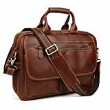 Leather Briefcase Tote Portfolio Brief Case Messenger Shoulder Bag Handbag Fit 14'' Laptop Brown