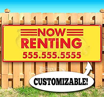 New Store Advertising Now Renting Customizable 13 oz Heavy Duty Vinyl Banner Sign with Metal Grommets Many Sizes Available Flag,