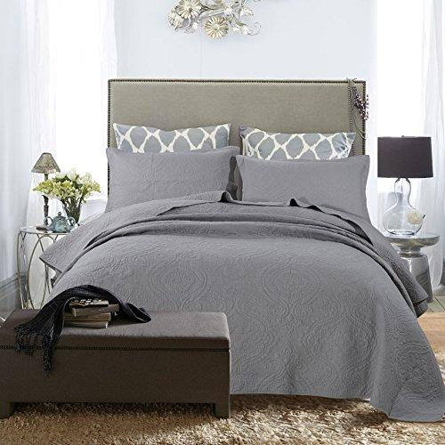 Dodou European Style Quilt Patchwork Bedspread/Quilt Sets 100% Cotton Queen Size 3pcs (gray) by Dodou