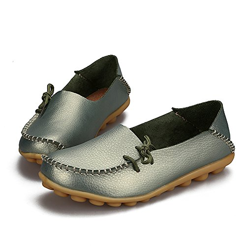 Slip up Cowhide Driving Shoes Lace Womens Flat on SUNROLAN Darkseagreen Leather Loafers Slipper Casual CFwX0UFHqx