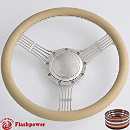 Flashpower 14\'\' Billet Banjo Half Wrap Steering Wheel with 9 Bolts 2\'\' Dish and Horn Button (Tan)