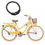 26'' Huffy Nel Lusso Cruiser Bike for Women, Padded Seat with Wire Basket and Bike Cable Lock, Yellow