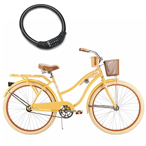 26'' Huffy Nel Lusso Cruiser Bike for Women, Padded Seat with Wire Basket and Bike Cable Lock, Yellow by Húffy