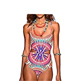 Flymall Paisley Print Cut Out One-piece Bikini Monokini (L)