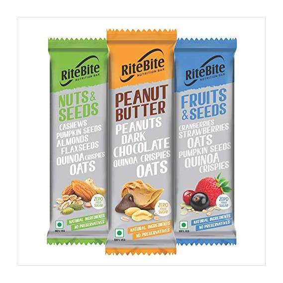 RiteBite Max Protein Assorted Nutrition Sugarless Bar (Peanut Butter-4, Fruit & Seed-4, Nut & Seeds-4) - Pack of 12