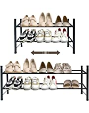 Shoe Rack 12-36 Pairs Shoes Organizer,Metal Iron of Expandable and Adjustable Shoes Organizer, Stackable Shoe Shelf for Entryway Doorway
