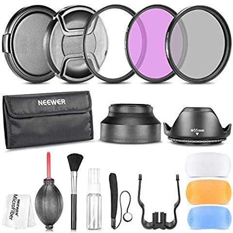 Neewer 55MM Professional Accessory Kit for SONY Alpha Series A99 A77 A65 A58 A57 A55 A390 A100 DSLR Cameras - Includes: Filter Kit (UV, CPL, FLD) + Carrying Pouch + Lens Hoods (Tulip and Collapsible) + Flash Diffuser Set + Lens Caps (Center Pinch and Snap On) + Cap Keeper Leash + Deluxe Cleaning Kit + Microfiber Cleaning