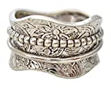 """Energy Stone """"Artisan Etched Floral Sterling Silver Meditation Spinning Ring (Style US17)"""