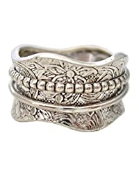 "Energy Stone ""ARTISAN"" Etched Floral Meditation Spinning Ring (Style# SR17)"