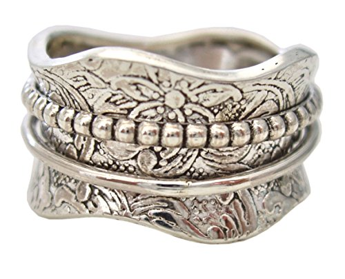 (Energy Stone Artisan Sterling Silver Meditation Spinning Ring Floral Pattern 2 Silver Spinners (SKU# US17) (8.5))