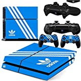 Ambur PS4 Console Designer Skin for Sony PlayStation 4 System plus Two(2) Decals for: PS4 Dualshock Controller --- Adidas Originals Logo