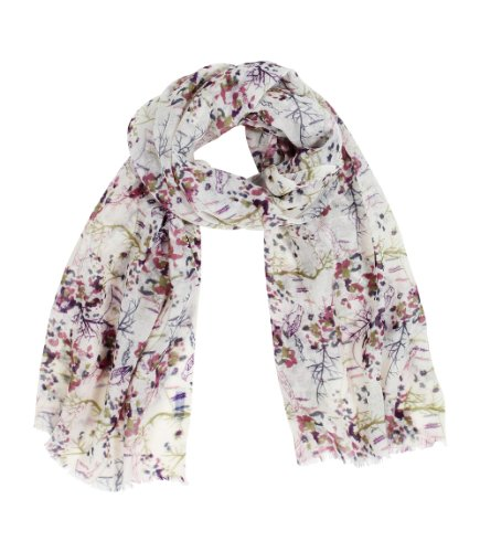Women's Magical Woodland Delicate Pretty Floral Scarf, Lightweight Soft Wool, Neutral Base (Scarf Soft Floral)