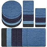 Plancha sobre parches de mezclilla para ropa y pantalones de mezclilla 24 piezas, 6 colores (Mezclilla)