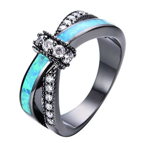 PSRINGS Unique Jewelry Blue Fire Opal Rings Male Black Gold Filled Crossed Shape Wedding Party Zircon Promise Ring 11.0