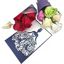 PONATIA 25PCS Laser Cut Wedding Invitations Card Hollow Bride Invitations Cards for Wedding Bridal Invitation Engagement Invitations Cards (Navy Blue)