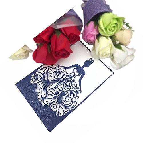 PONATIA 25PCS Lacer Cut Wedding Invitations Card Hollow Bride Invitations Cards for Wedding Bridal Invitation Engagement Invitations Cards (Navy Blue)