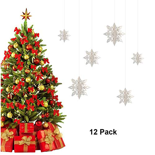 Christmas Snowflake Decorations 3D Snowflake Hanging Garland Banner Xmas Tree Ornament Large Snowflake Party Decor Kit for Wedding Birthday Holiday New Year Party Photo Booth Props 12 Pack White -
