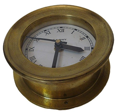 U.S. Navy Marine BRASS Wall Clock - Roman Style - 100% SATISFACTION - Marine / Nautical / Boat / Maritime by Marine