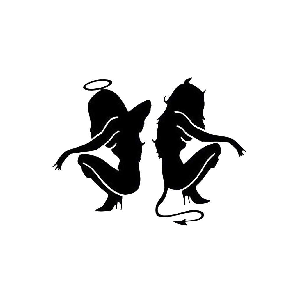 Hemore 18 * 20 cm Demonio Angel Coche Pegatina un Negro 1 Paquete El Regalo Ideal para los Padres,niños,Amantes,Mujeres