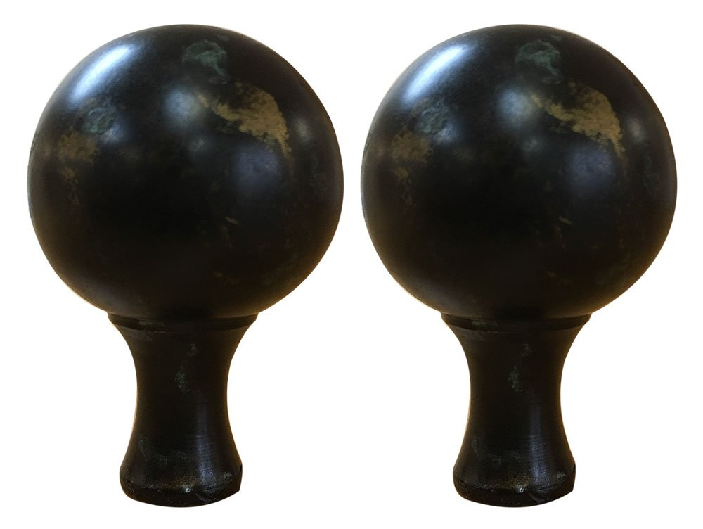 Royal Designs Large Ball Lamp Finial for Lamp Shade-Antique Brass Set of 2