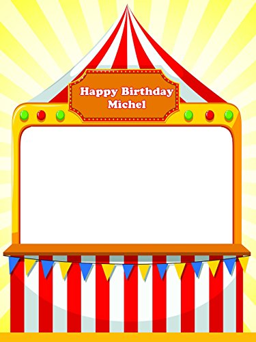 Custom Circus Tent Happy Birthday Photo Booth Prop - sizes 36x24, 48x36; Pesonalized Circus Carnival Home Decorations, Handmade Party Supply Photo Booth (Handmade Halloween Decorations)
