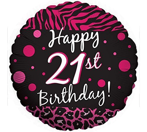 2 BALLOONS new 21ST BIRTHDAY party BLACK hot PINK ZEBRA print CHEETAH leopard POLKA DOTS -