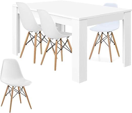 HABITMOBEL Pack 4 Sillas diseño + Mesa de Comedor Extensible de ...