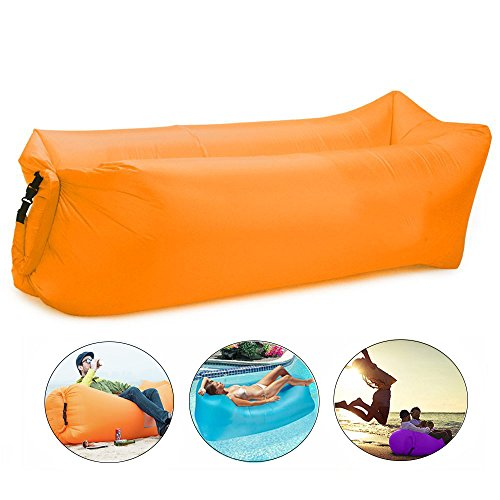 Bry Inflatable Lounger Air Chair Sofa Bed Sleeping Bag Couch for Beach Camping Lake Garden (Orange)