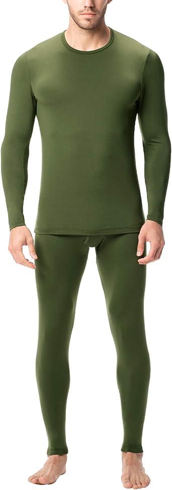 Mens 2 Piece Set Wool Blend Thermal Long Top /& Long Johns Black OR Biege