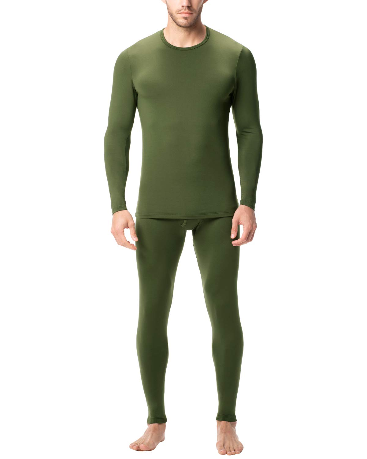 LAPASA Men's Lightweight Thermal Underwear Long John Set Fleece Lined Base Layer Top and Bottom M11 (XX-Large, Lightweight Olive) by LAPASA
