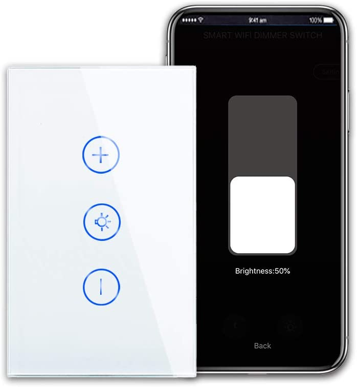 CNBINGO Smart Dimmer Switch, Single-Pole Touch Switch, Neutral Wire Needed, WiFi Light Switch for Dimmable LED/Bulbs, Work with Alexa/Google Assistant, Schedule, Remote Control, White Glass Panel