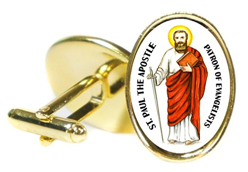 St Paul the Apostle Patron of Evangelists 18x24mm (3/4'' X 1'') Oval Gold Pair of Cuff Links by Artisan Courtyard