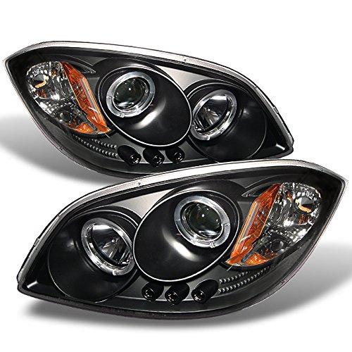For Cobalt Pontiac G5 Pursuit Black Halo Ring LED Projector Replacement Headlights Driver/Passenger ()