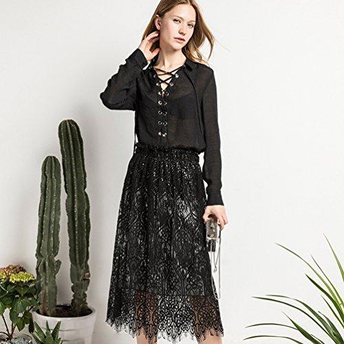 YuanDian Mujer Verano Ocio Slim Fit Encaje A-Line Falda Larga Cintura Elástica Swing Borla Maxi Faldas Ambos Lados Desgaste Negro