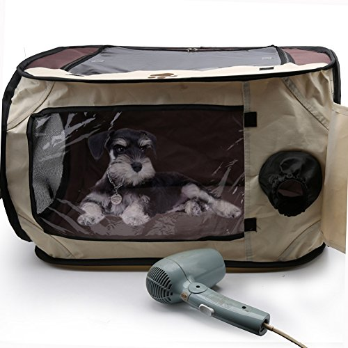 - Yinrunx Pet Hair Dryer Clean Grooming House, Pet Blower Heater Bag Cage Portable Hands-Free Drying House