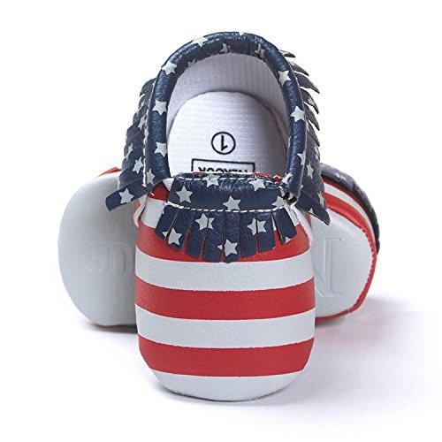 Lemandy Lovely sintética Bebés primera zapatos de senderismo Zapatos de Senderismo de aprendizaje Niños o Niñas BS002 plata Talla:12 cm Stars and Stripes