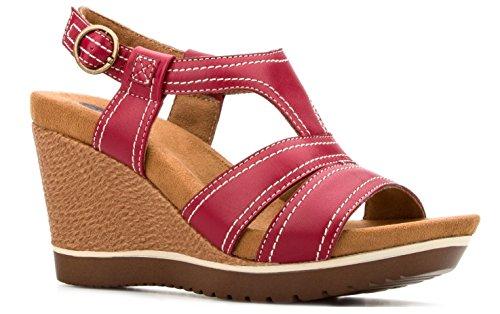 Red Sandal Sling Back Leather Womens Sandals Platform Memory Foam