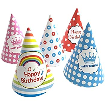 Simple Polymer 25 Pcs Birthday Party HatIncludes 5 Different Patterns