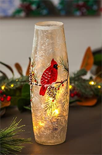 Cypress Home Beautiful Christmas Pine Cones and Cardinal Hand Painted Glass LED Cylinder Table D cor – 4 x 4 x 12 Inches Indoor Outdoor Decoration for Homes, Yards and Gardens