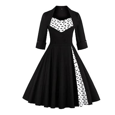 Kangma Dress Womens Vintage Style Rockabilly Evening Prom Swing Three Quarter Dress