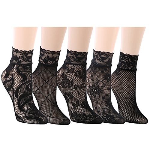 Ankle Heels Socks - kilofly 5 Pairs Women Ultra Thin Short Ankle Socks Fishnet Lace Liner Stockings