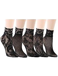 kilofly 5 Pairs Women Ultra Thin Short Ankle Socks Fishnet Lace Liner Stockings
