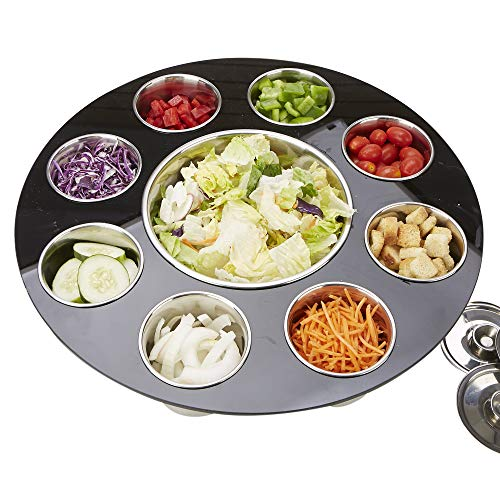 Mind Reader STAN-BLK 9 Compartment Salad Serving Tray, Fruit, Veggie & Condiment Caddy, Chips & Dips Holder for Party's, Black, One Size,