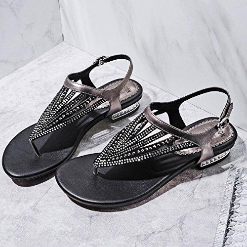 di KPHY stringere cuoio scarpe donna l'esercitazione di i six sandali e colore rivetti Thirty cuoio scarpe una sandali pistola matura le 37 SSrq0Z