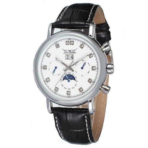 SJXIN Reloj mecánico de alta calidad Dial grande simple del diamante de 348 seis puntas con la tabla ocasional del cinturón...