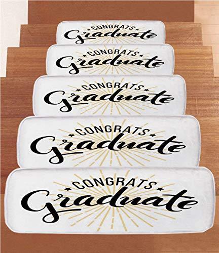 Graduation Decor Coral Fleece Stair Treads,Stair Tread Mats,High School University Academy Commendation Honors Degree Bachelor,(Set of 5) 8.6