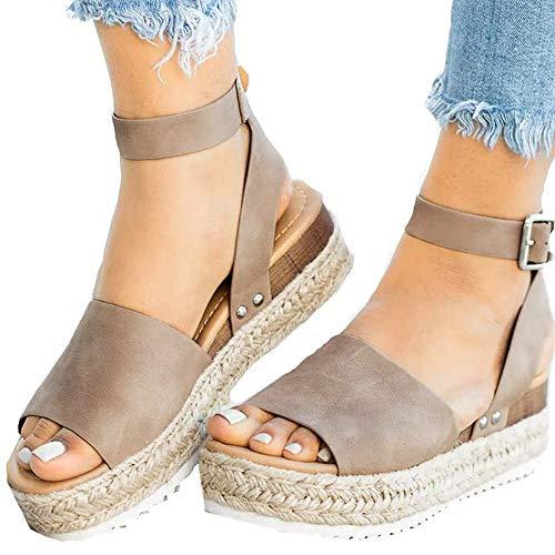 Athlefit Women's Platform Sandals Espadrille Wedge Ankle Strap Studded Open Toe Sandals Size 9 -