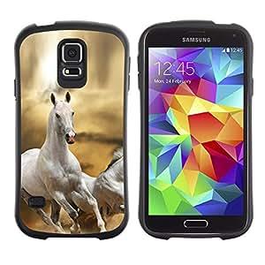 Suave TPU Caso Carcasa de Caucho Funda para Samsung Galaxy S5 SM-G900 / Horse White Wild Free Running Field Desert / STRONG