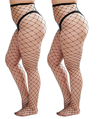 Womem's Sexy Black Fishnet Tights Plus Size Net Pantyhose Stockings (2-PACK ) (Plus Size, Black #2)